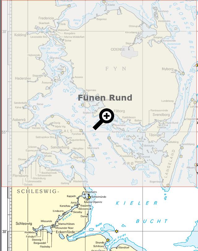 Seekarte Übersicht Fünen Rund